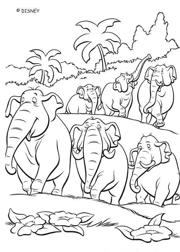 Discover This Amazing Coloring Page Of The Jungle Book Movie Color This Elephant Squadron Elephant Coloring Page Jungle Coloring Pages Cartoon Coloring Pages