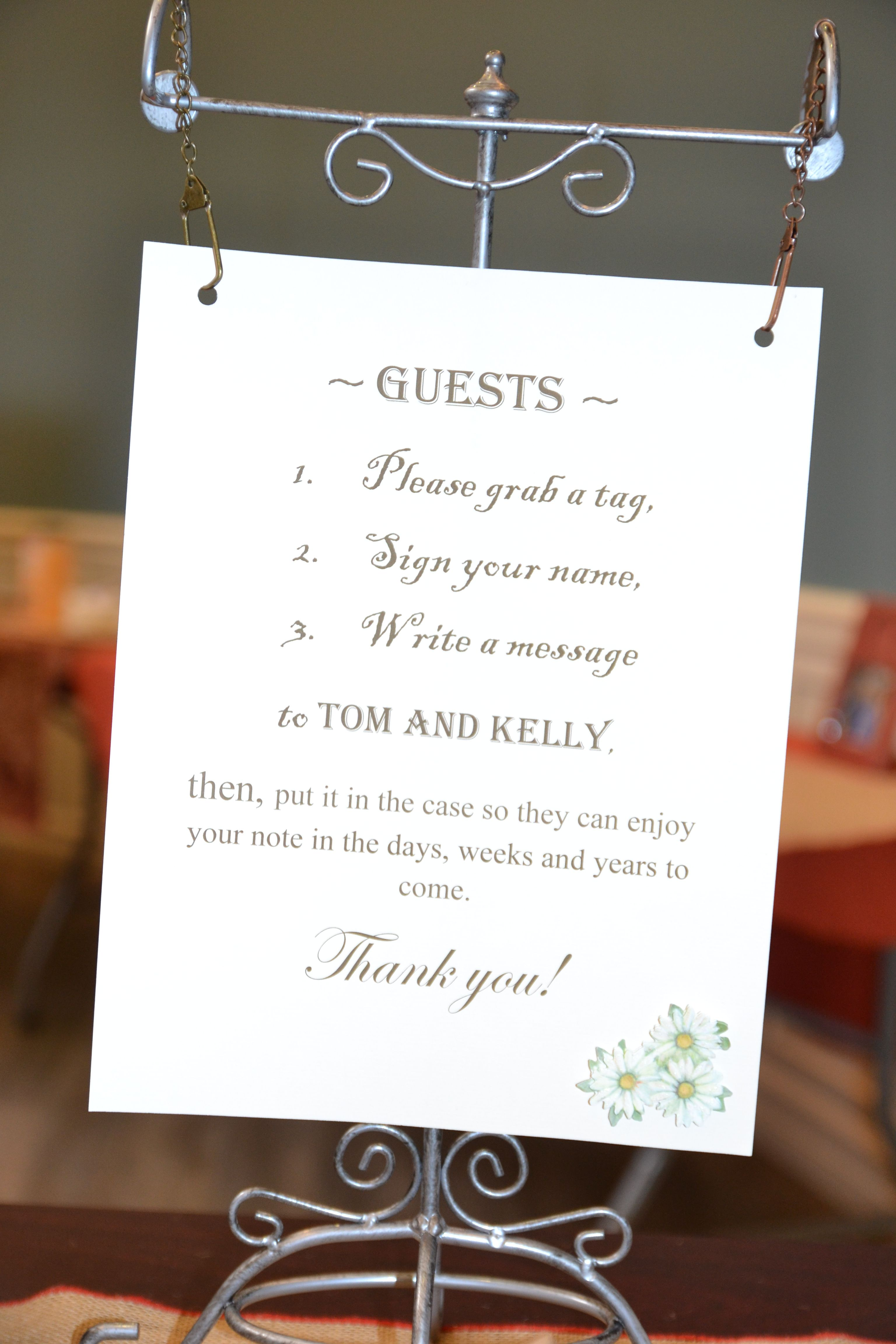 """how to"" for the guest book table."