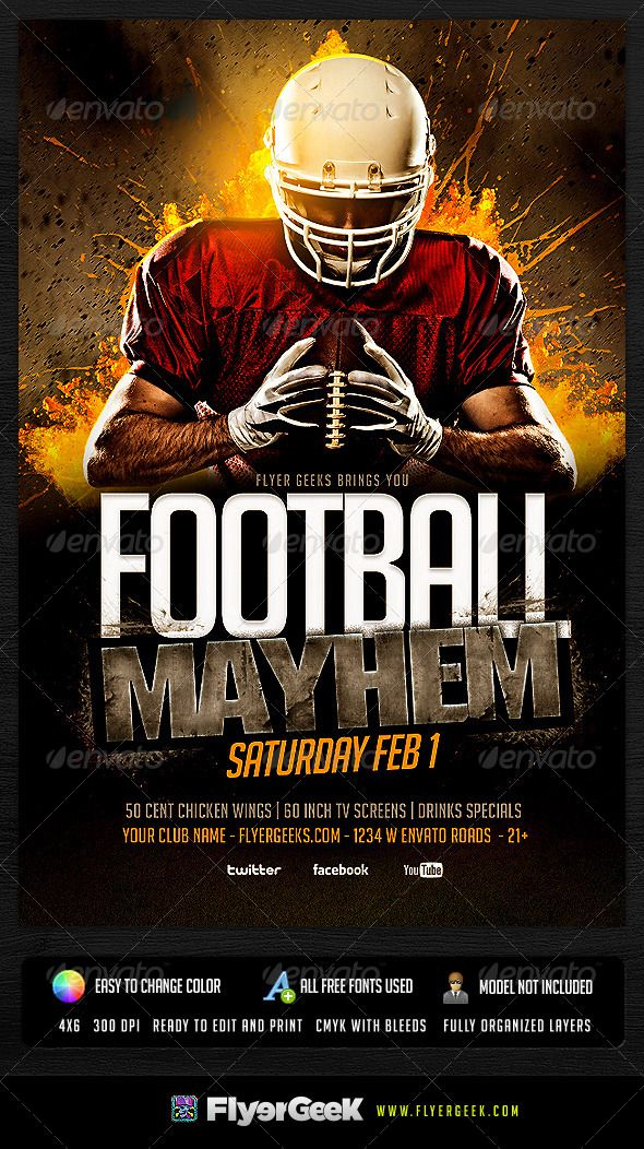 Football Flyer Template PSD Flyer template, Template and Event - football flyer template