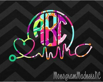 CUSTOM PRINT CIRCLE STETHOSCOPE MONOGRAM VINYL DECAL STICKER - Custom vinyl decals for cups
