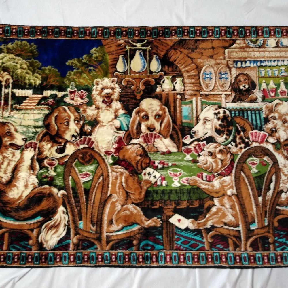 Dogs Playing Poker Tapestry Blue Fringe With Tag Welvet Made In