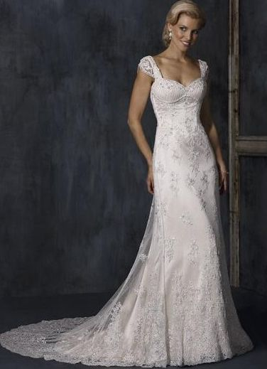 Cheap Gorgeous Cap Style Sleeves Beads Working Sweetheart Applique Lace Satin Mermaid Bridal Gwon Under Price $219.99 - Gifilight.com.