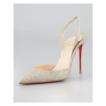 CHRISTIAN LOUBOUTIN EVER GLITTER SLINGBACK RED SOLE PUMP
