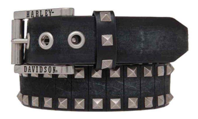 Harley-Davidson Men's Road Rash Diamond Studs Leather Belt, HDMBT10845-BLK (38)