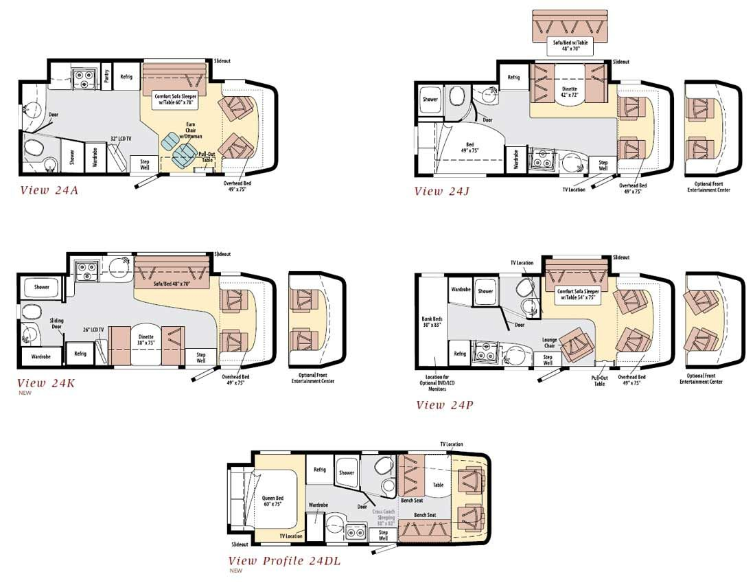 Winnebago View class C motorhome floorplans | Favorite