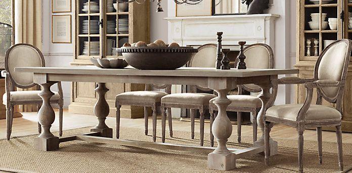 Caitlin vanscott on pinterest for Dining room tables at restoration hardware