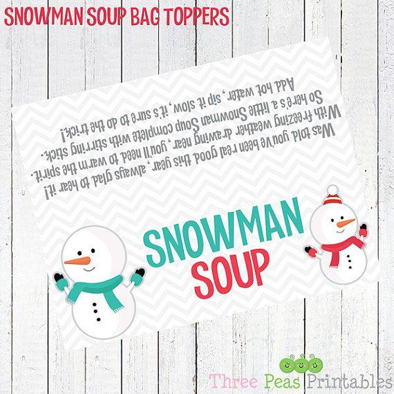 photograph about Snowman Soup Free Printable named snowman soup printable bag topper - Snowman Soup Bag Topper