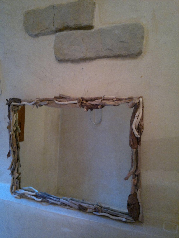 Specchio medio con cornice in legno spiaggiato arredo - Specchio bagno legno ...