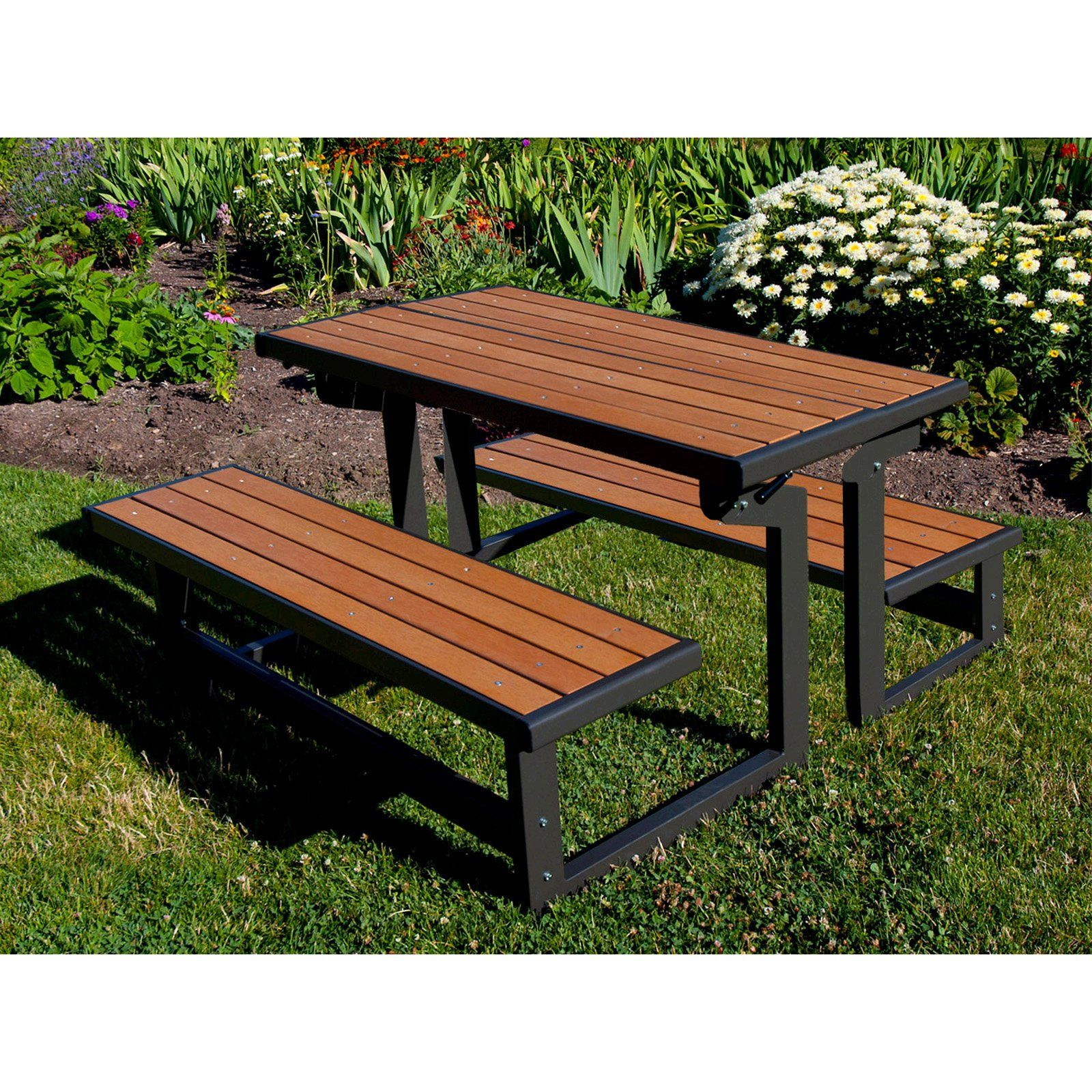 Lifetime Products Wood Grain Convertible Folding Picnic Table Table Converts To Two Benches