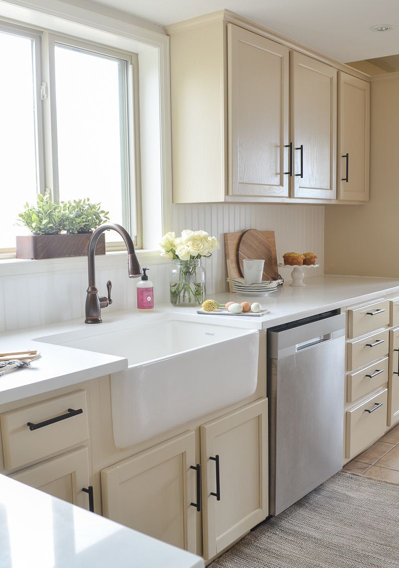 Farmhouse Style Kitchen Makeover Reveal Wainscoting