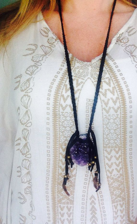 Amethyst Natural Stone Boho Leather Necklace by WiredByDee on Etsy