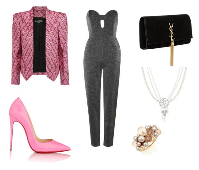 """Untitled #56"" by wali-emna on Polyvore featuring Topshop, Christian Louboutin, Balmain, Yves Saint Laurent and Mimí"