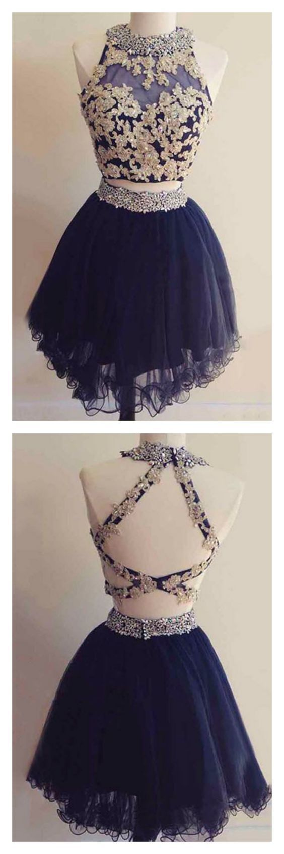 Navy blue homecoming dress tulle two piece homecoming dress short