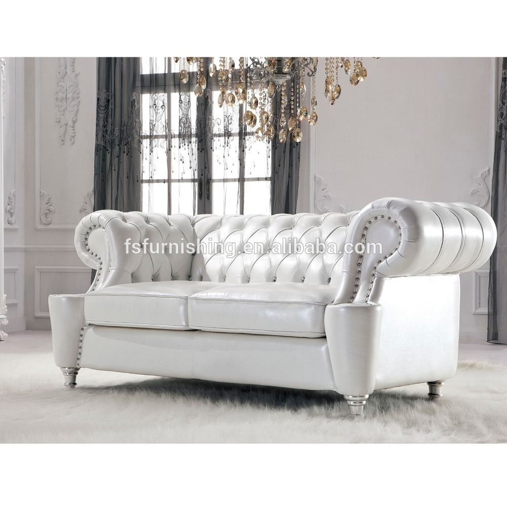 Jr307b Elegant White Pearl Shine Thick Leather Crystal Button French ...