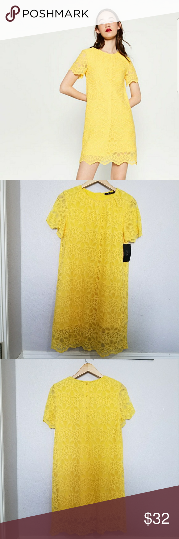 1963887b zara yellow guipure lace dress 7901/026 condition: brand new with tags  *approximate measurements taken with item laying flat* bust: 18