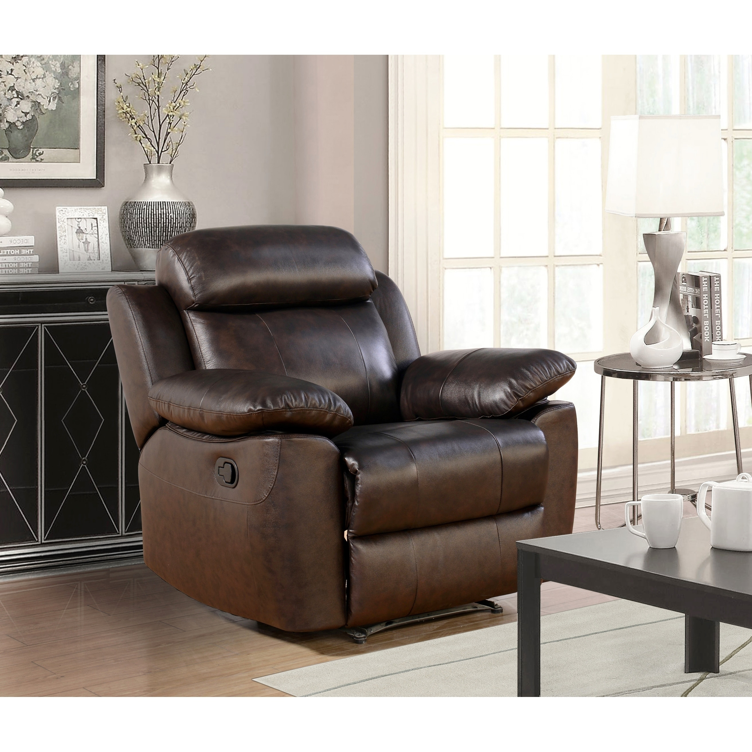 Astonishing Abbyson Braylen Brown Top Grain Leather Recliner Recliners Onthecornerstone Fun Painted Chair Ideas Images Onthecornerstoneorg