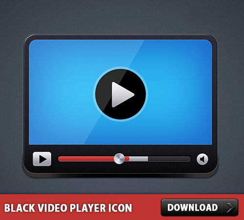 Nice Black Video Player Icon PSD. Download Free Glossy