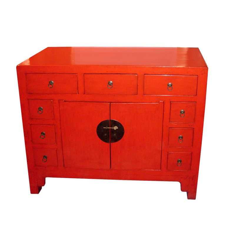 Chinese Red Lacquer Commode/Cabinet