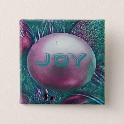 Modern Green Magenta Holiday Joy Buttons - christmas buttons