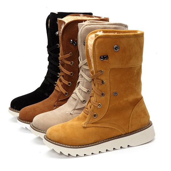 c533c130066d US Size 5-13 Winter Women Suede Boots Casual Outdooors Mid Calf Snow Boots  - Banggood Mobile