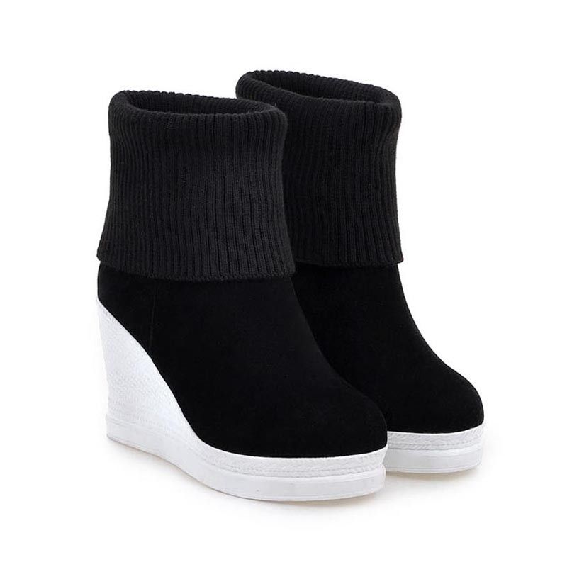 afcb25ace86 Women Platform Wedges Ankle Boots Fashion Round Toe Slip-on Winter Boots  Ladies Casual High Heels Winter Shoes Size 34-43 Boots - On Trends Avenue