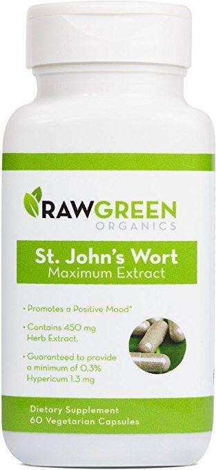 Raw Green Organics - St. John's Wort Maximum Extract - Promotes a Positive Mood - 60 Vegetarian Capsules