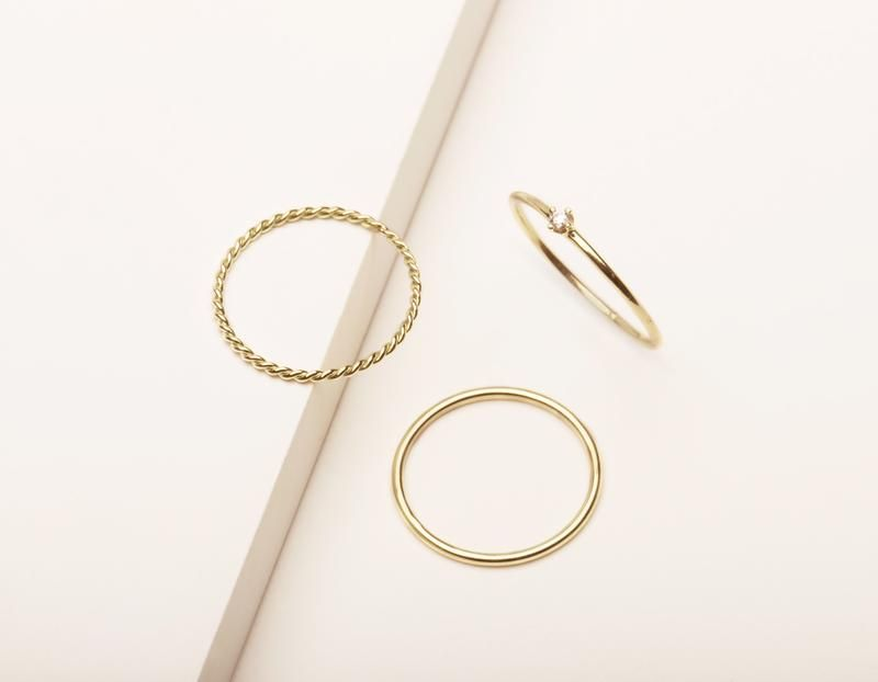 07bbc67791e3a5 Vrai and Oro simple classic Trio Bundle Rings 14k solid gold Skinny  Stacking Round Diamond Stacker and Twist Ring, 14K Yellow Gold