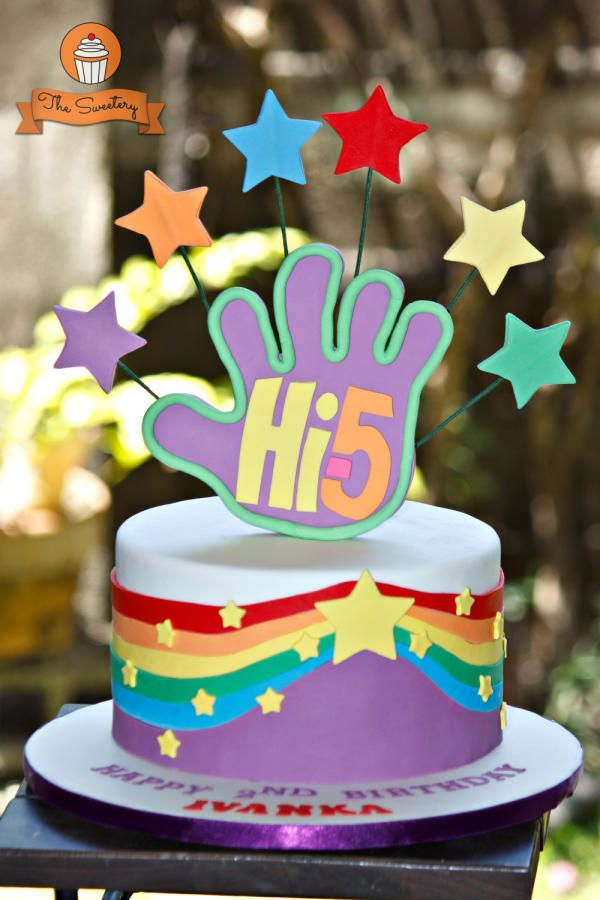 Hi5 Cake Rainbow Birthday Cake Fifth Birthday Cake Luau Birthday Party