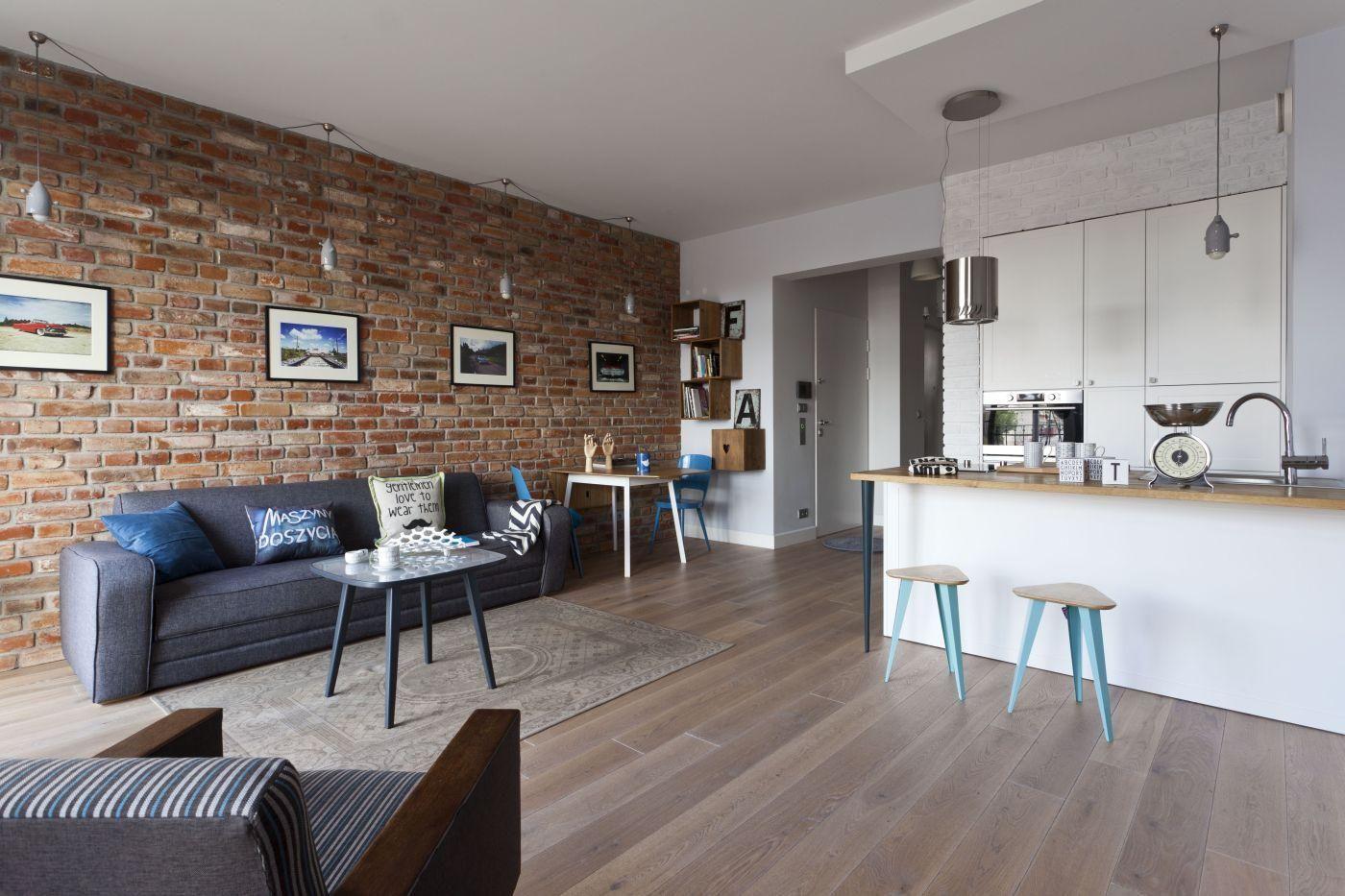 Salon Z Aneksem Kuchennym Biala I Czerwona Cegla W Roli Glownej Home Home Decor Interior Design