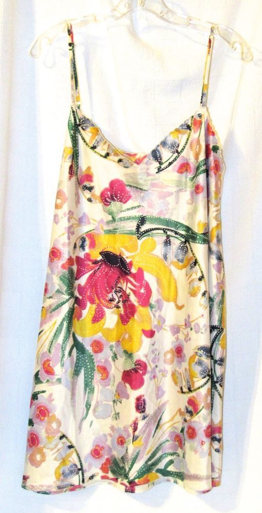 Cabernet Short Satin Chemise Nightgown Floral Nightgown Size: XL #Cabernet #Gowns