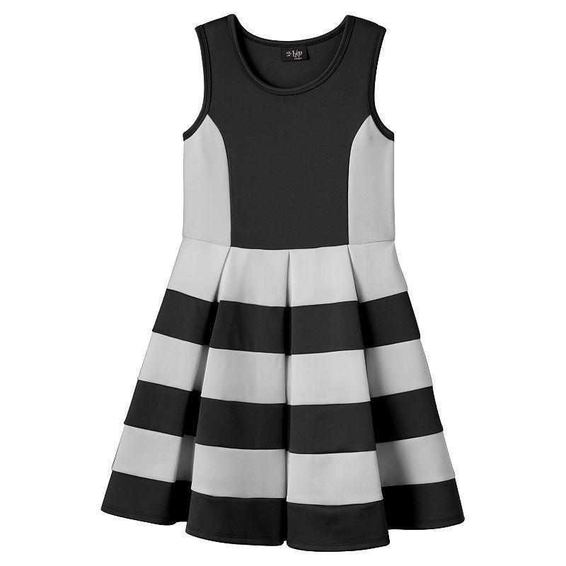 Girls 7-16 & Plus Size 2HIP Striped Scuba Skater Dress, Girl\'s, Size ...