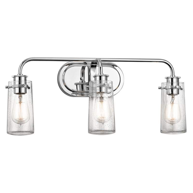 Kichler 45459 braelyn 3 light wide bathroom vanity light with seedy glass sh chrome indoor lighting bathroom fixtures vanity light