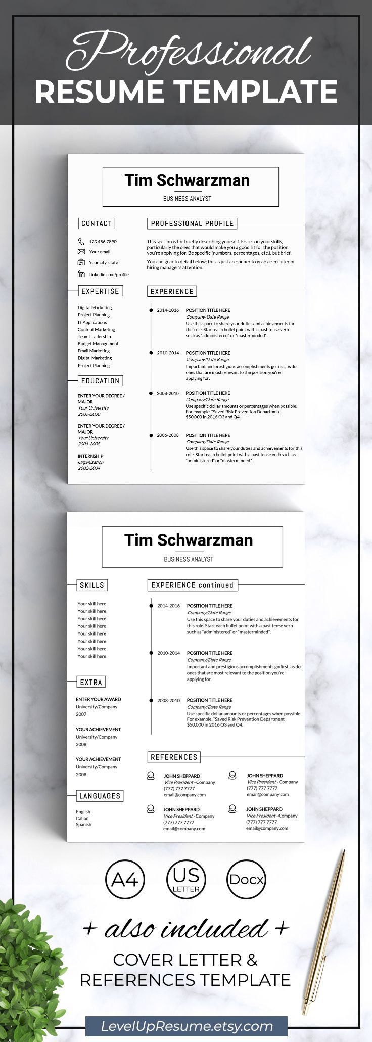 Minimalist Resume Template Clean And Minimalist Resume Templateprofessional Resume Design .