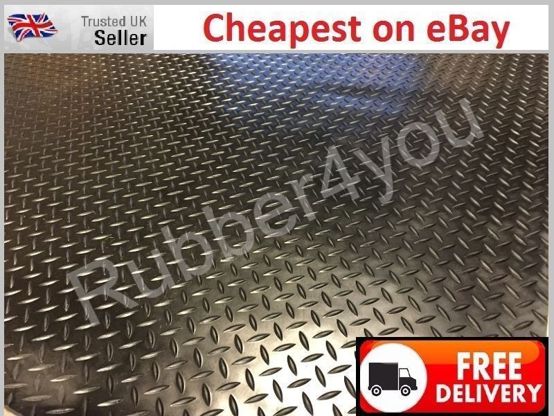 Details about Black DIAMOND checker plate studded Rubber