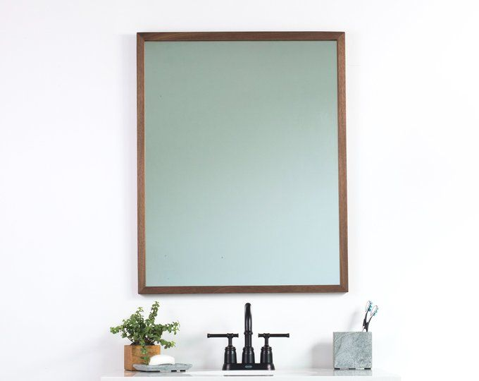 Photo of 24×36 Brown Walnut Bathroom Vanity Mirror, Wide, Wall Mirror, Modern, Rustic, Farmhouse, Minimalist,