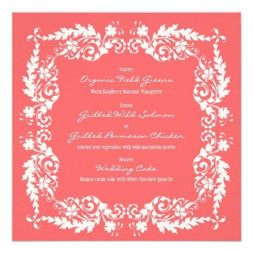 White & Pink Square Wedding Reception Menu Card Custom Invites