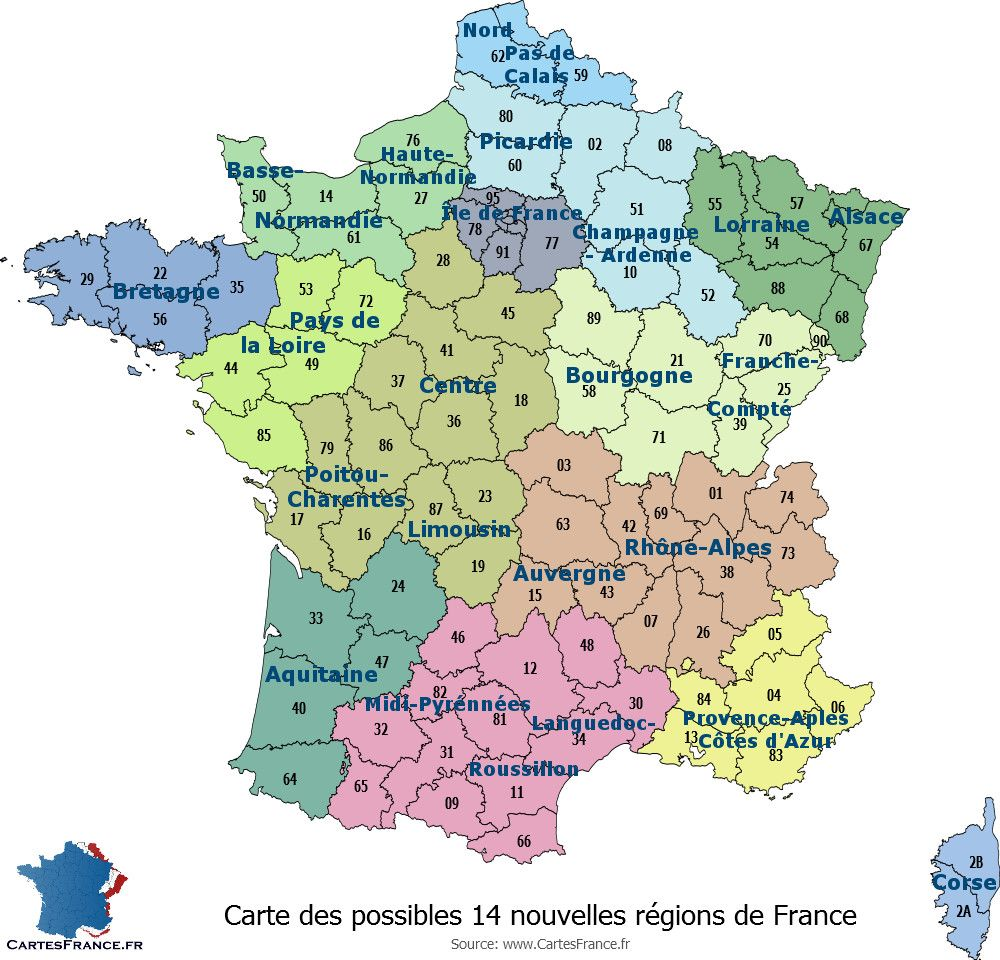 Carte des possibles 14 nouvelles régions françaises