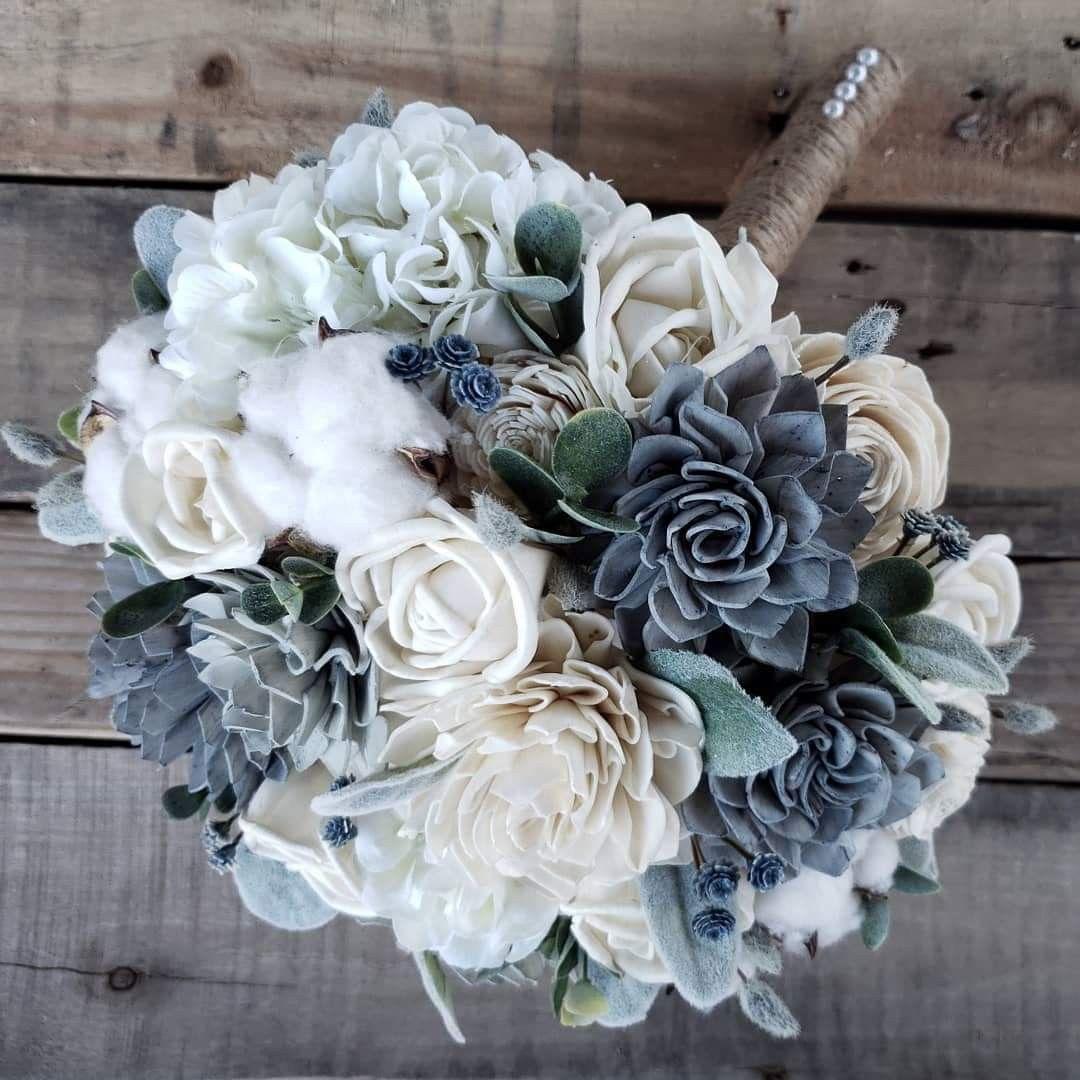 Wood Flower Bridal Bouquet Blue Wedding Flowers White Flower Bouquet Wood Flower Bouquet