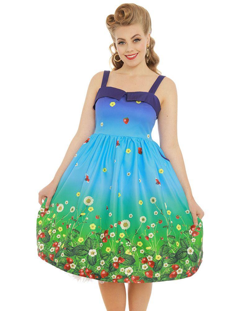 'Saskia' Blue Strawberry Fields Print Swing Dress