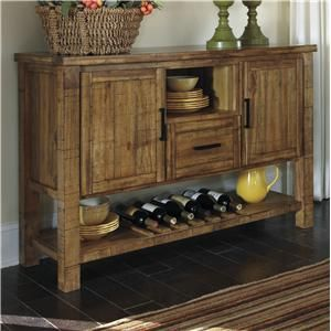 Krinden Rustic Dining Room Server with Wine Rack by Signature Design ...