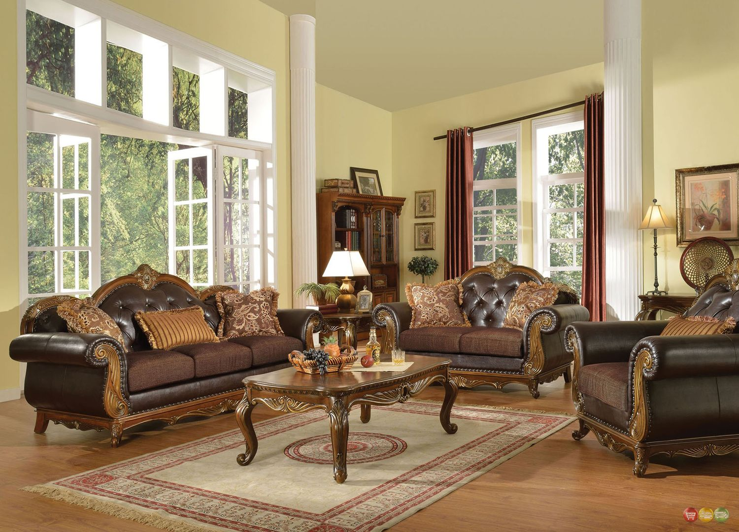 Dorothea Traditional Formal Living Room Sofa Set W Wood Accents