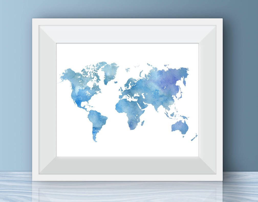 Blue watercolor world map art print digital prints watercolour blue watercolor world map art print digital prints watercolour world map wall art nursery decor poster printable beach house print 40 by inst gumiabroncs Image collections