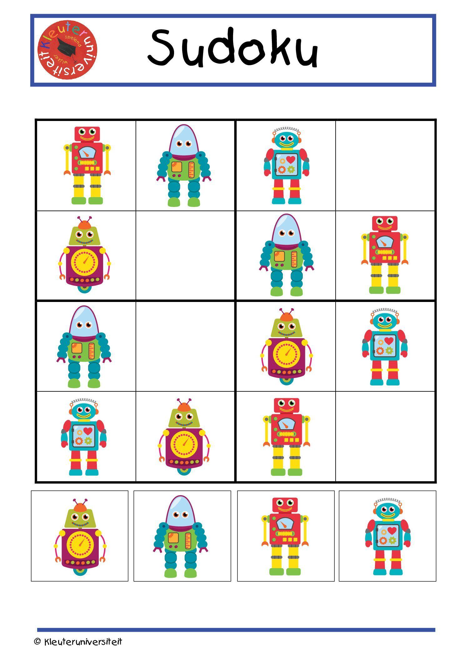 robot sudoku groot formaat   kindergarten   Pinterest   Roboter ...