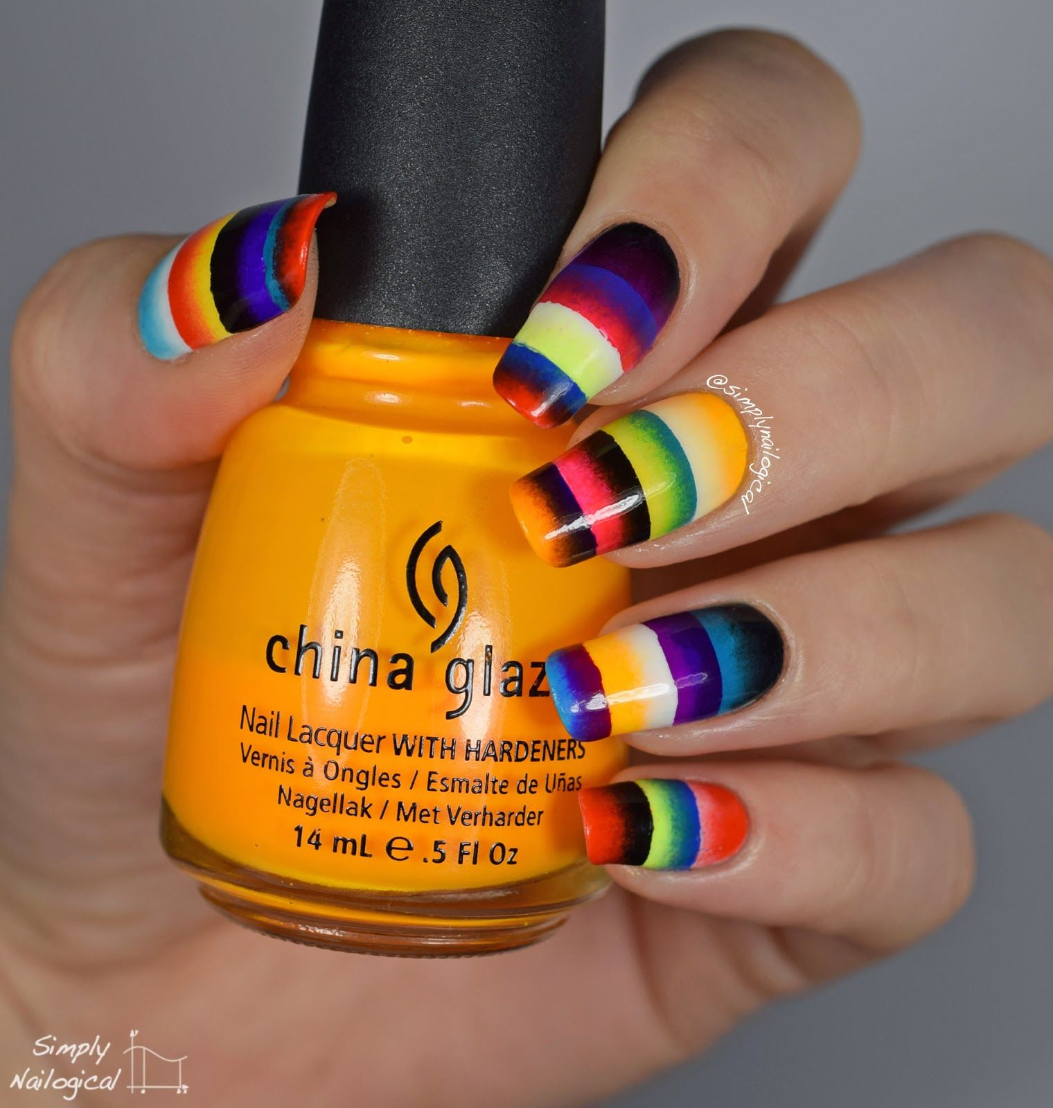 Simply Nailogical Nail Art: Simply Nailogical: Quadruple Scaled Gradient: Mexican Rug