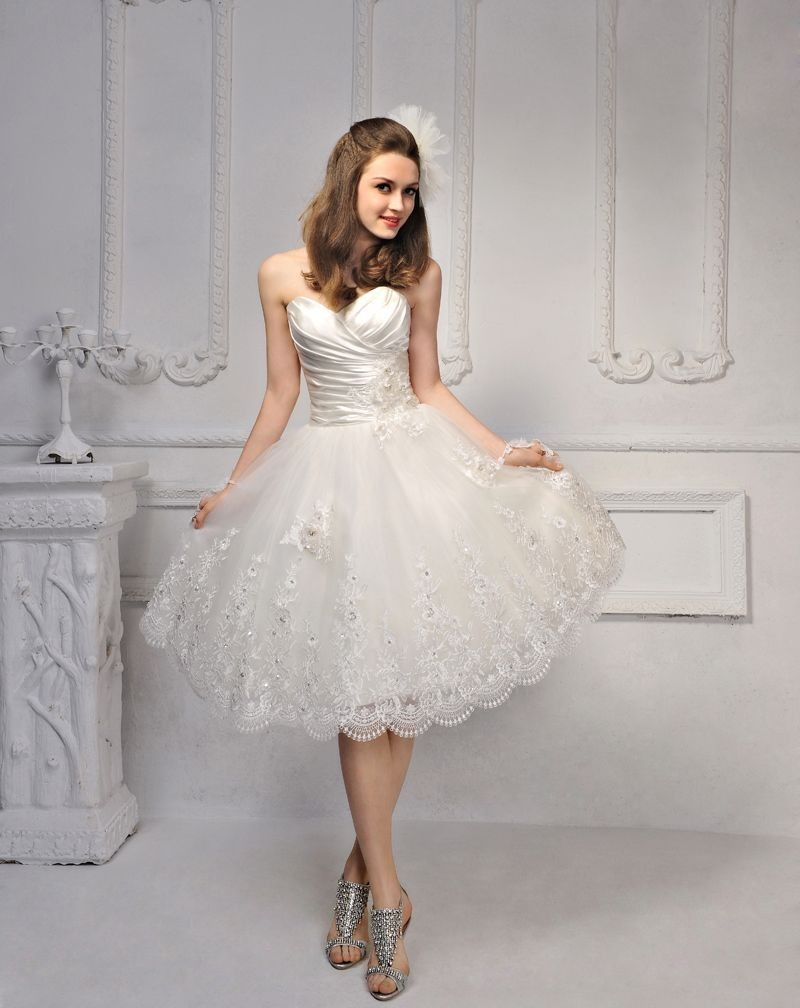 Sweet Heartshaped Strapless Short Wedding Dress: Short Strapless Sweet Wedding Dresses At Websimilar.org