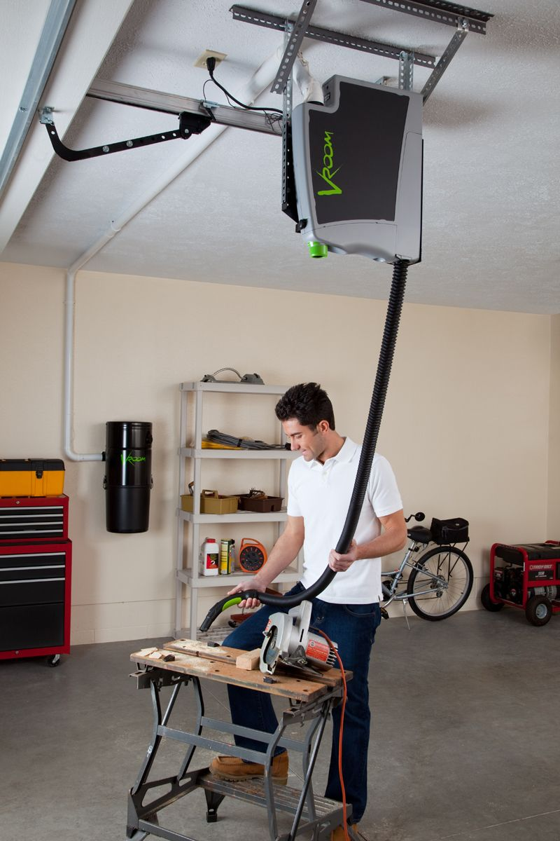 Vroom Retractable Hose System Is Easily Hooked Up To Your Central Vacuum The Installed In Garage For Cleaning