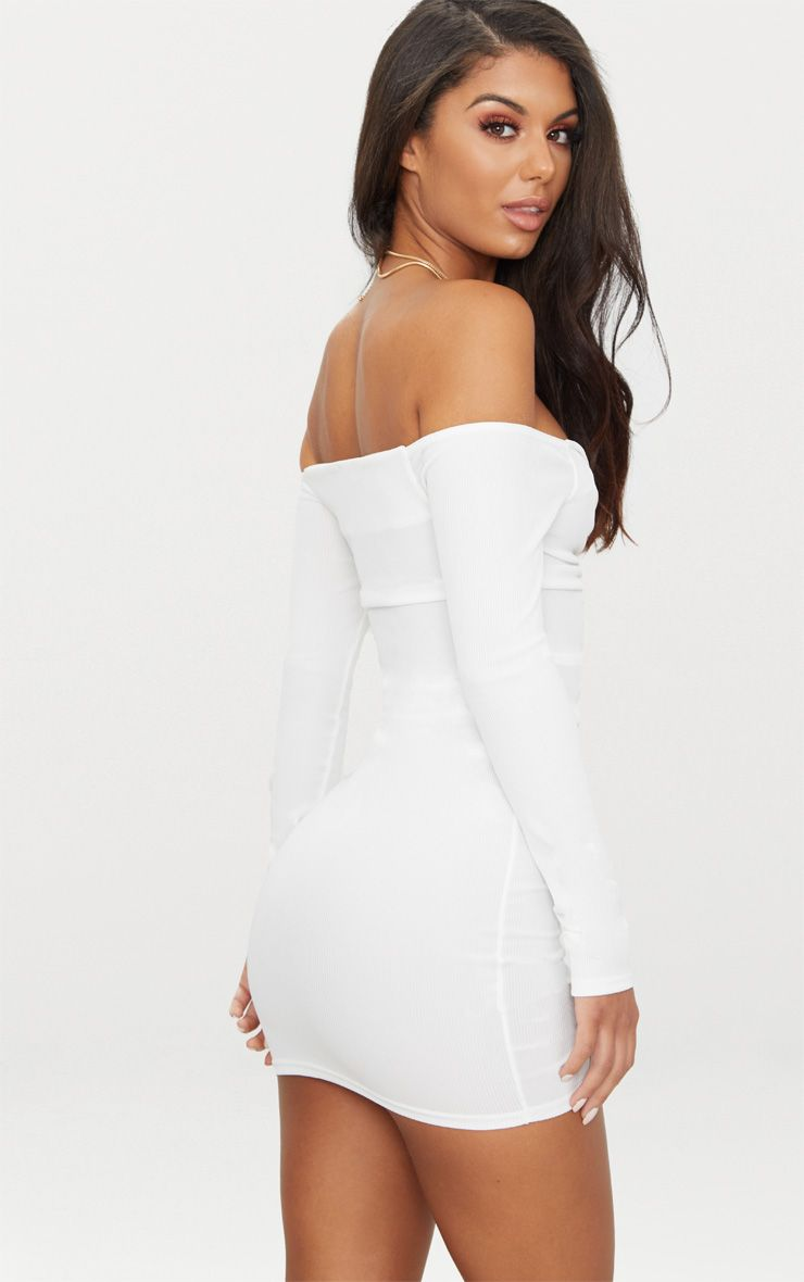 5acc96cca1ae White Ribbed Long Sleeve Ruched Bodycon Dress in 2019