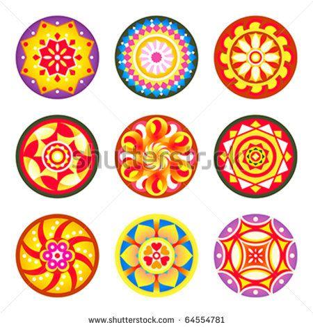 Stock Vector Indian Flower Carpet Patterns Pookalams For Onam Festival