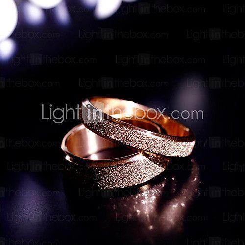고품질 티타늄 강철 황금 둔한 광택이 커플의 결혼 반지 - USD $ 10.99
