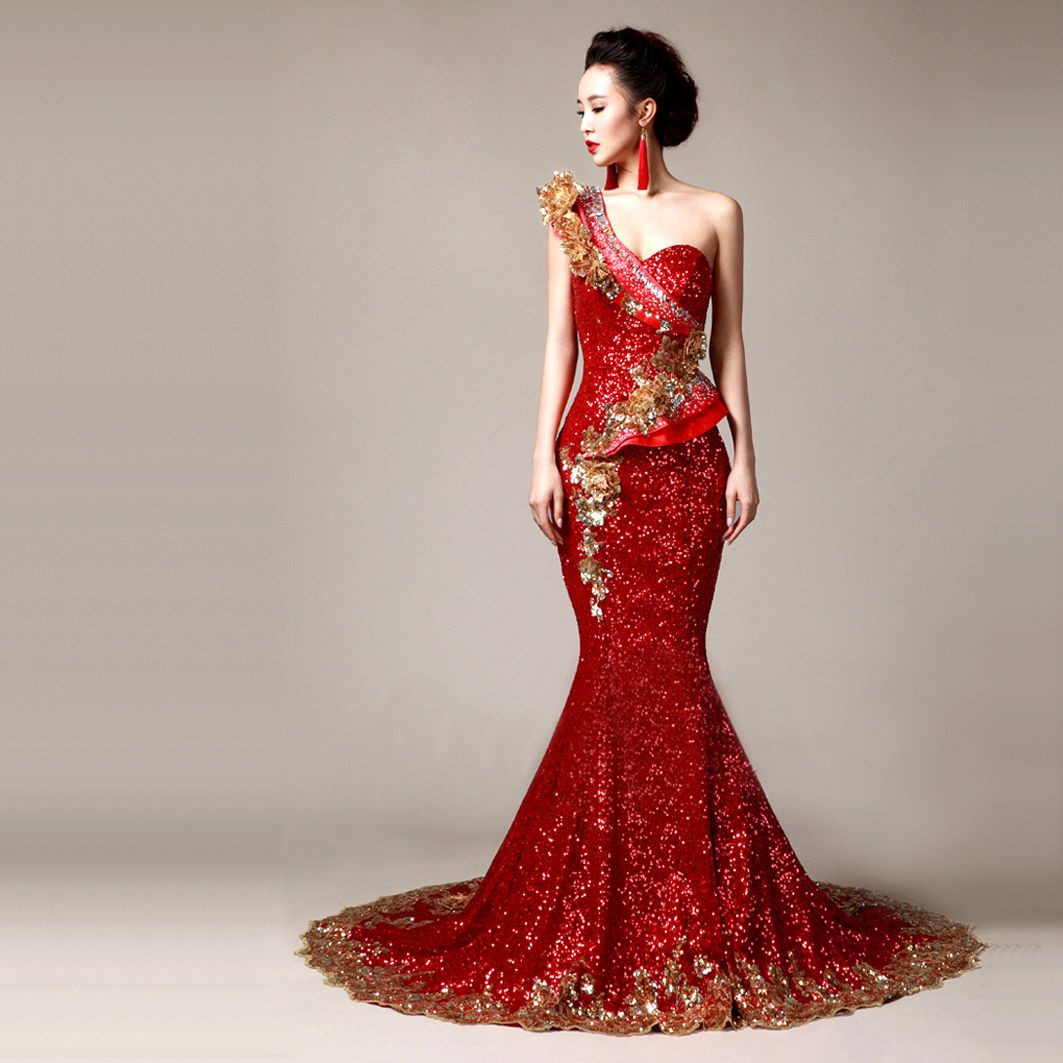 Red and gold dresses for wedding the for Red and black wedding dresses for sale